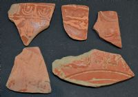 "A decent and affordable group of 5 x assorted Roman ""Samian ware"" decorative pottery shards from Essex. SOLD"